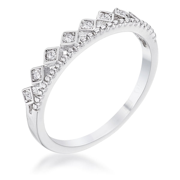 .14Ct Rhodium Plated CZ Mini Crown Stackable Band - Rings - KA Designs Online