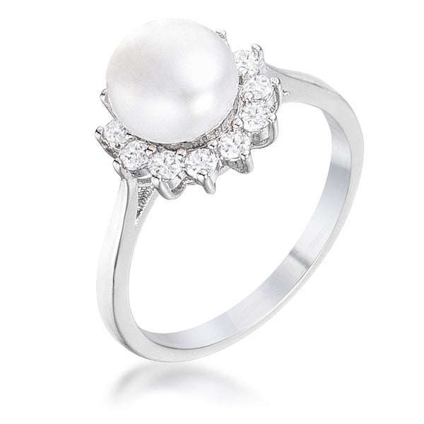 .36Ct Rhodium Plated Freshwater Pearl and CZ Halo Ring - Rings - KA Designs Online