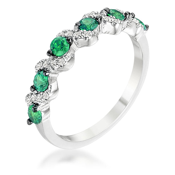 .18Ct Rhodium and Hematite Plated S Shape Emerald Green and Clear CZ Half Eternity Band - Rings - KA Designs Online