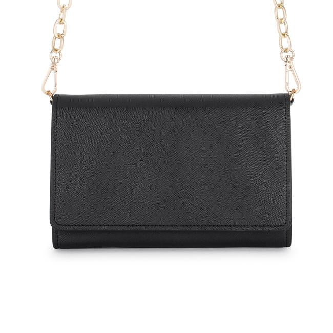 Carly Black Leather Purse Clutch With Gold Chain Crossbody - Clutches - KA Designs Online