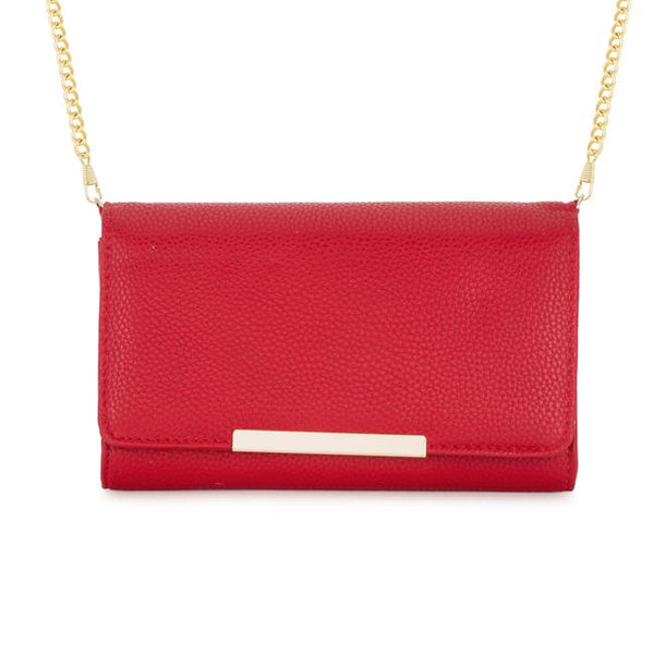 Laney Red Pebbled Faux Leather Clutch With Gold Chain Strap - Clutches - KA Designs Online