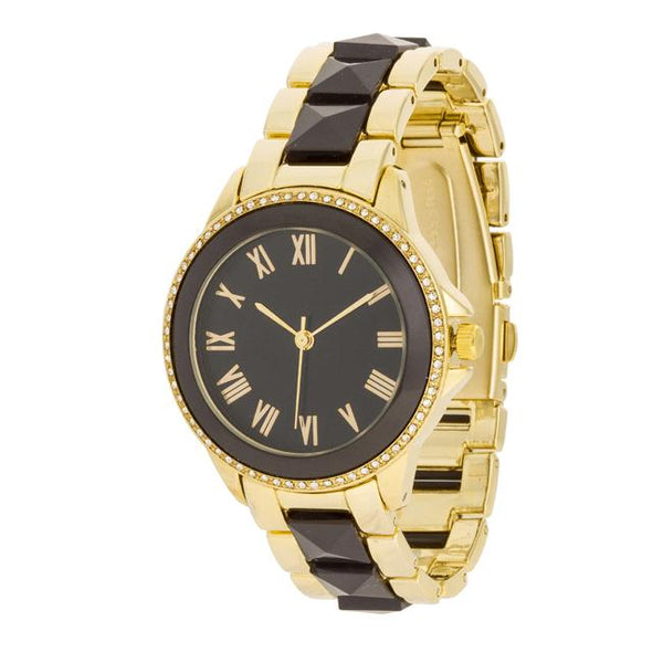 Black And Gold Metal Crystal Watch - Watches - KA Designs Online