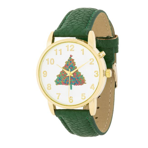 Gold Holiday Tune Watch With Green Leather Strap