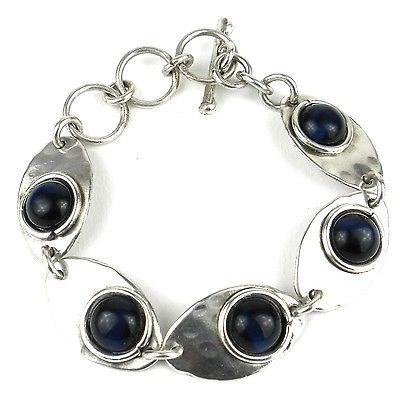 Blue Tiger Eye Link Silverplated Bracelet - Brass Images (C)