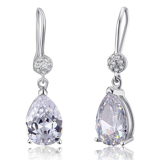 4 Carat Pear Cut Created Diamond 925 Sterling Silver Dangle Earrings XFE8012