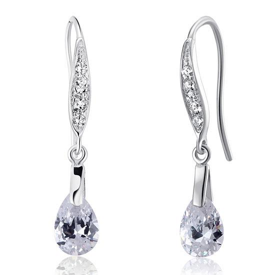 2 Carat Pear Cut Created Diamond 925 Sterling Silver Dangle Earrings XFE8018 - Silver Earrings - KA Designs Online