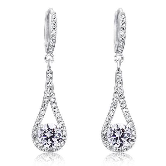 1 Carat Round Cut Solid 925 Sterling Silver Bridal Wedding Dangle Earrings Jewelry XFE8019 - Silver Earrings - KA Designs Online