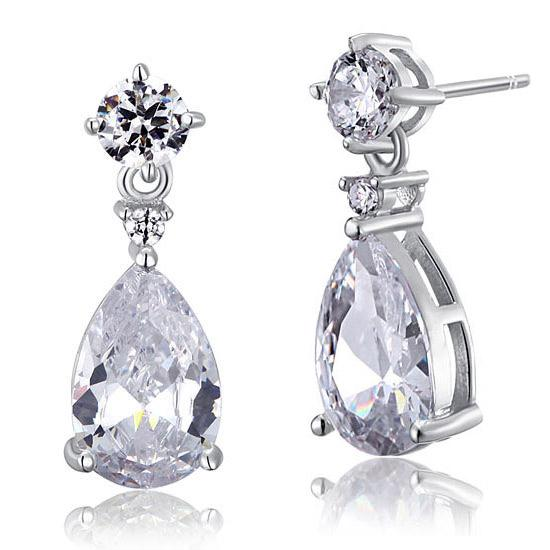 3 Carat Pear Cut Created Diamond 925 Sterling Silver Dangle Earrings XFE8031 - Silver Earrings - KA Designs Online