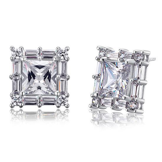 2 Carat Princess Cut Created Diamond  925 Sterling Silver Stud Earrings Vintage Style XFE8035 - Silver Earrings - KA Designs Online