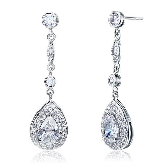 1.5 Carat Pear Cut Created Diamond 925 Sterling Silver Dangle Earrings XFE8056 - Silver Earrings - KA Designs Online
