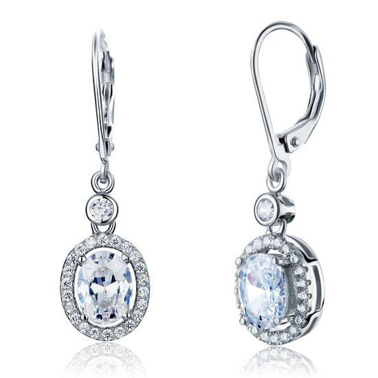1.5 Carat Oval Cut Created Diamond 925 Sterling Silver Dangle Earrings XFE8061 - Silver Earrings - KA Designs Online