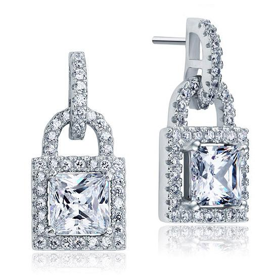 Created Diamond Dangle Drop Key Lock Sterling 925 Silver Earrings XFE8080 - Silver Earrings - KA Designs Online