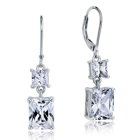 8 Carat Princess Cut Created Diamond Dangle Drop 925 Sterling Silver Earrings XFE8095 - Silver Earrings - KA Designs Online