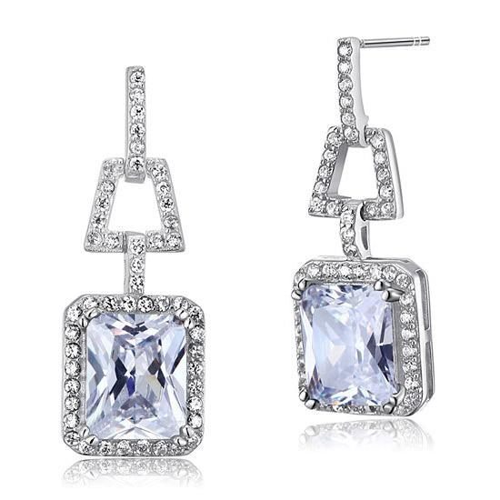 4 Carat CZ Simulated Diamond 925 Sterling Silver Dangle Earrings XFE8098 - Silver Earrings - KA Designs Online