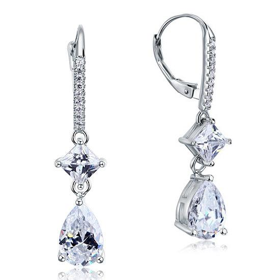 2 Carat Princess Cut Created Diamond Dangle Drop 925 Sterling Silver Earrings XFE8104