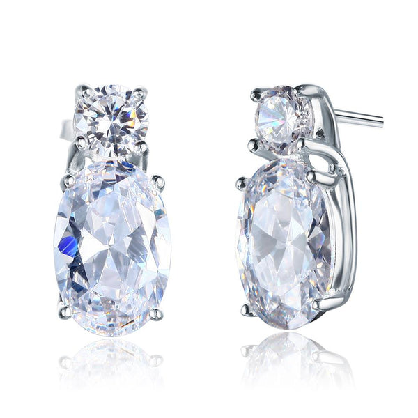 4 Carat Oval Cut 925 Sterling Silver Stud Earrings Jewelry XFE8107 - Silver Earrings - KA Designs Online
