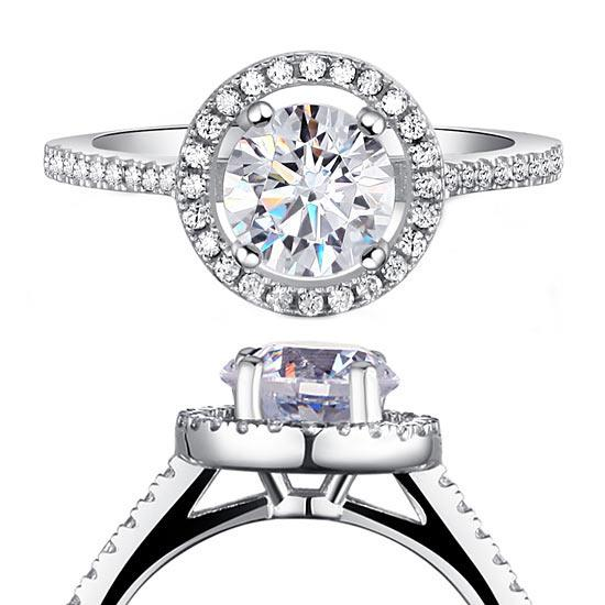 1.25 Carat Round Cut Created Diamond 925 Sterling Silver Wedding Engagement Ring XFR8003 - Silver Rings - KA Designs Online
