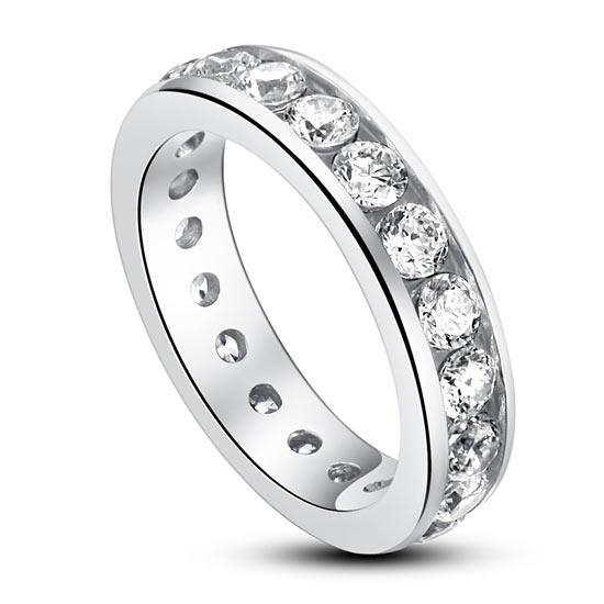 Channel Setting Created Diamond 925 Sterling Silver Eternity Band Wedding Anniversary Ring XFR8004 - Silver Rings - KA Designs Online