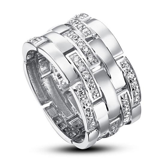 Created Diamond 925 Sterling Silver 1 cm Band Wedding Anniversary Ring XFR8005 - Silver Rings - KA Designs Online
