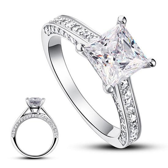 1.5 Carat Princess Cut Created Diamond 925 Sterling Silver Wedding Engagement Ring XFR8009 - Silver Rings - KA Designs Online