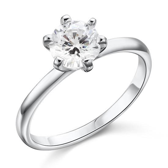 1 Carat Created Diamond Engagement Sterling 925 Silver Ring XFR8027 - Silver Rings - KA Designs Online