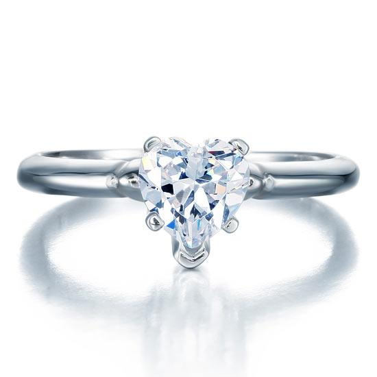 1.5 Carat Heart Cut Created Diamond Engagement Sterling 925 Silver Ring XFR8034 - Silver Rings - KA Designs Online