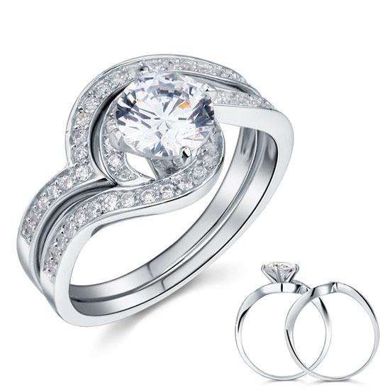 1.25 Carat Created Diamond Bridal Engagement 2-Pcs Sterling 925 Silver Ring Set XFR8036 - Silver Rings - KA Designs Online