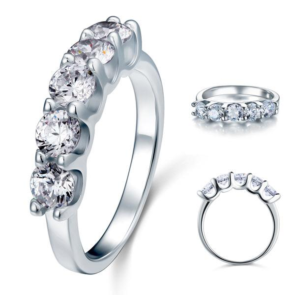 1.25 Carat Five Stone Created Diamond Solid Sterling 925 Silver Bridal Ring XFR8039 - Silver Rings - KA Designs Online