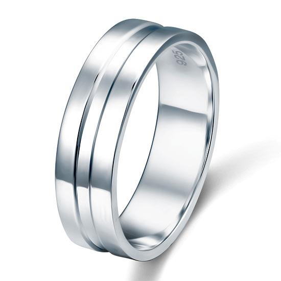 High Polished Plain Men's Solid Sterling 925 Silver Wedding Band Ring XFR8058