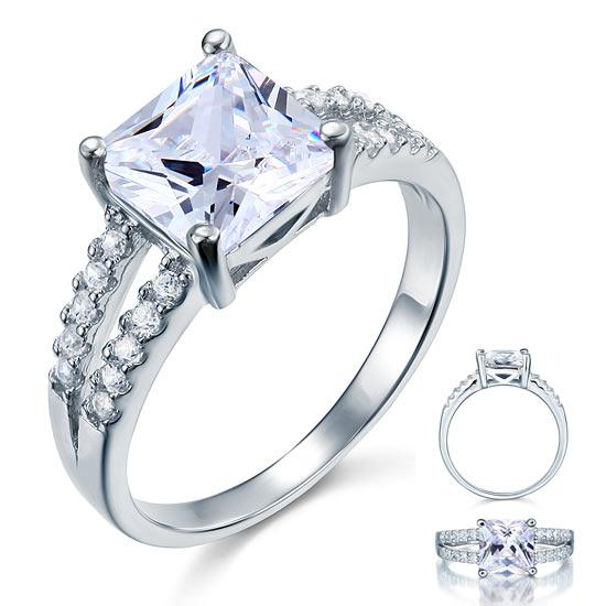 2 Carat CZ Created Diamond Sterling Solid 925 Silver Wedding Engagement Ring XFR8082 - Silver Rings - KA Designs Online