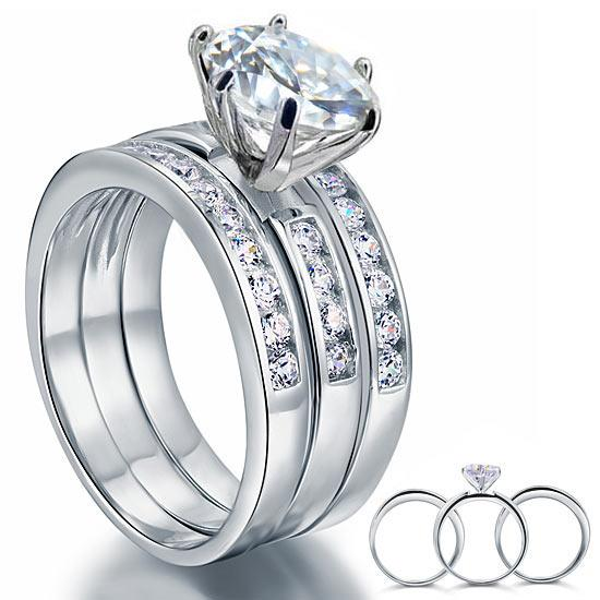 2 Ct Created Diamond 925 Sterling Silver Wedding Engagement Ring Set 3-Pcs XFR8101 - Silver Rings - KA Designs Online