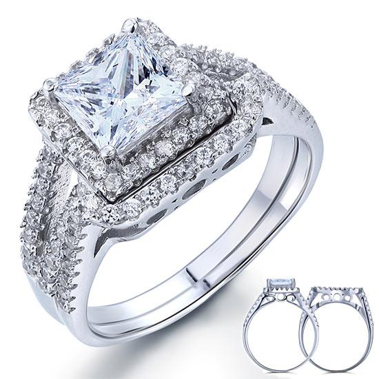 1.5 Carat Princess Created Diamond Solid 925 Sterling Silver Wedding Promise Engagement Ring Set  XFR8141 - Silver Rings - KA Designs Online