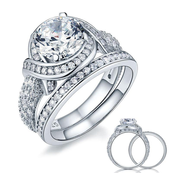 Luxury 925 Sterling Silver Wedding Anniversary Ring Set Vintage Created Diamond XFR8239 - Silver Rings - KA Designs Online