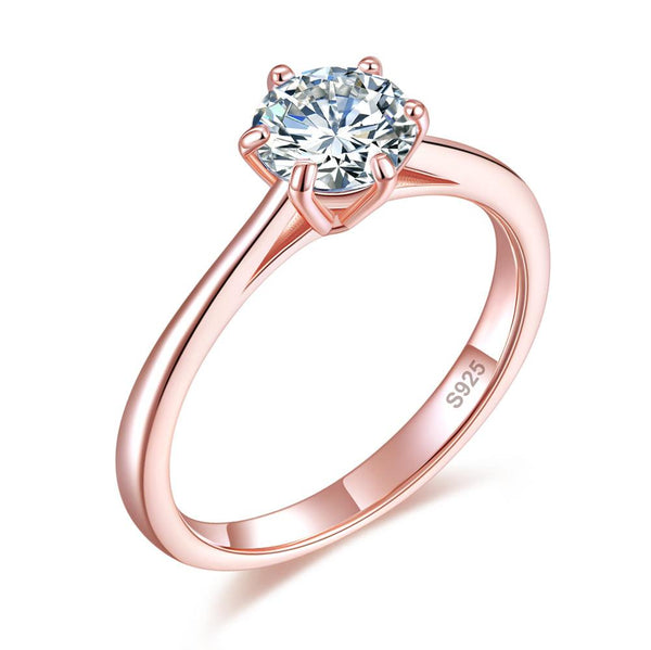 1 Carat 6 Claws Wedding Classic Engagement Ring Solitaire Solid 925 Sterling Silver Rose Gold Plated XFR8315 - Silver Rings - KA Designs Online