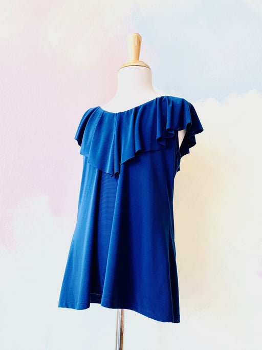 Royal Blue with Ruffle Neck   Child Size = 10-12 Brand = Un DeuxTrois