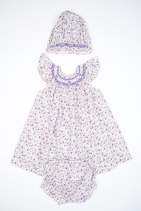 Purple Dainty Flowers Smocked Dress & Bonnet