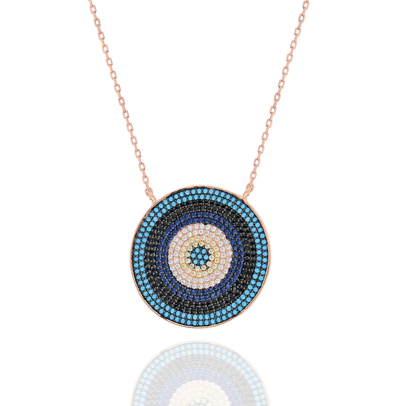 Large Mosaic Evil Eye Necklace