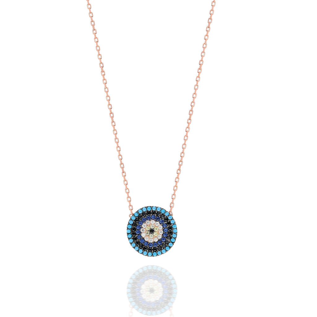 Small Mosaic Evil Eye Necklace