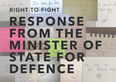 Response from The Secretary of State of Defence