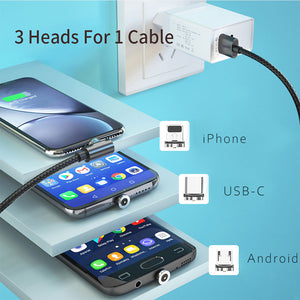 Magnetische 3 in 1 USB-kabel voor iPhone / Android / Type USB-C