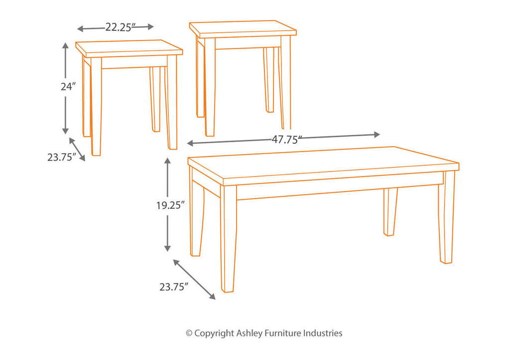 Table de salon Ashley Theo T158-13 3pcs