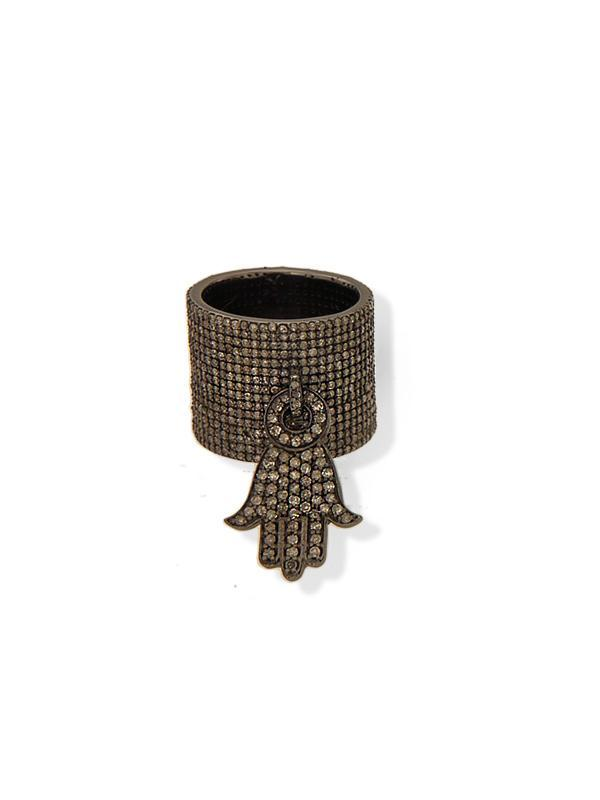 Diamond Hamsa Ring
