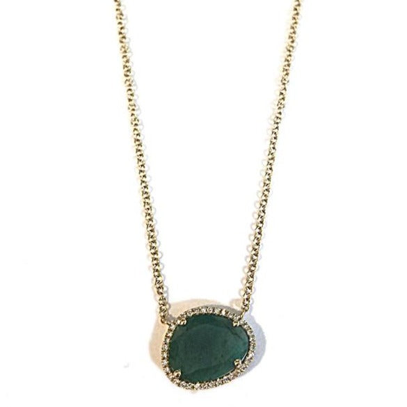 Diamond & Emerald Pendant Necklace
