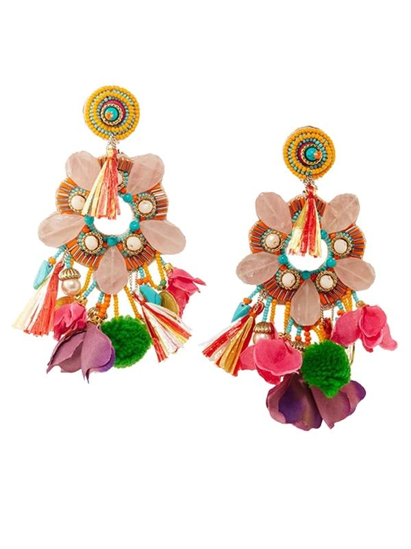 Flower Drop Clip On Earrings