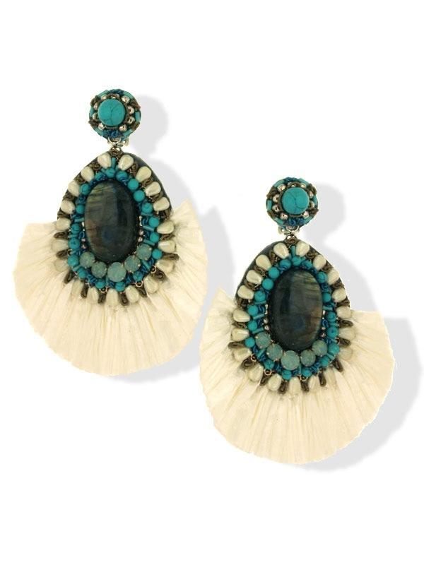 White Fringe Clip On Earrings
