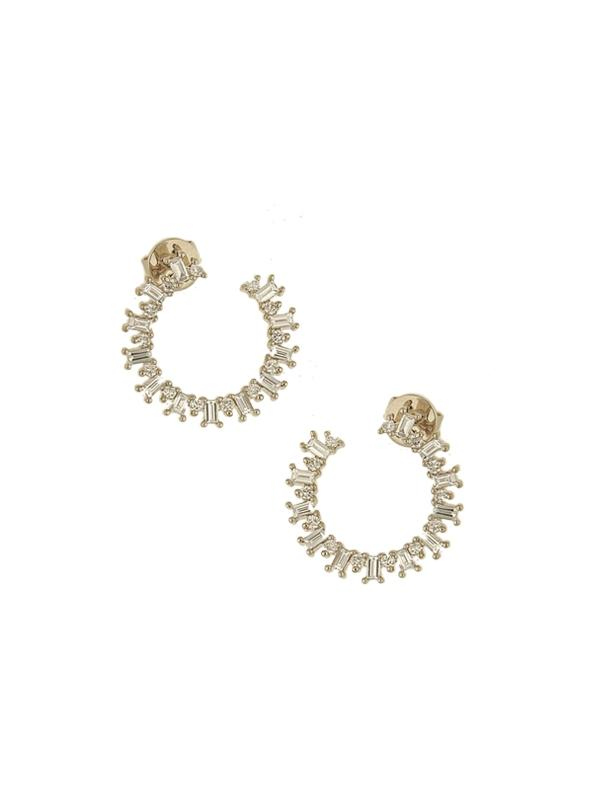 SALE Diamond Curved Cuff Earrings
