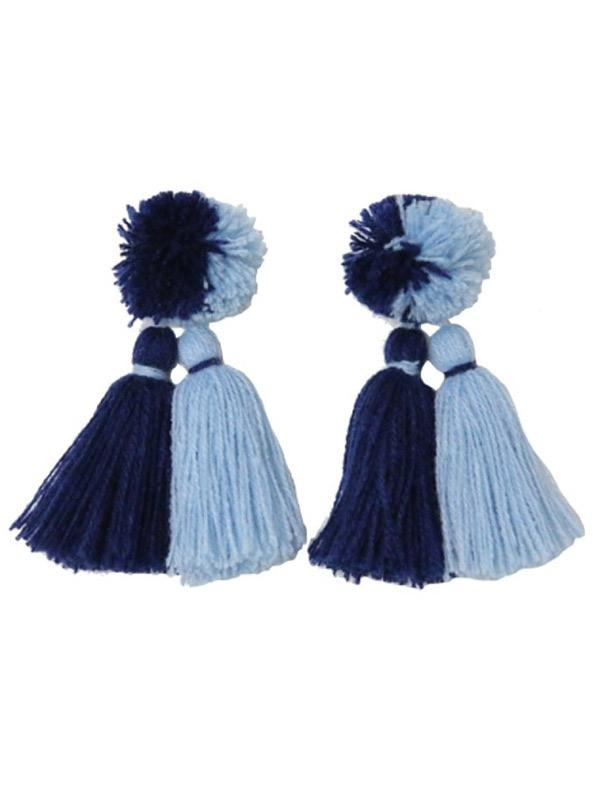 SALE Blue Pom Pom Earrings