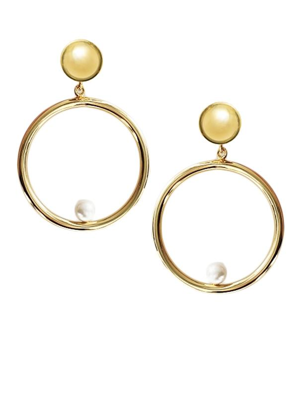 Pearl Hoop Clip On Earrings