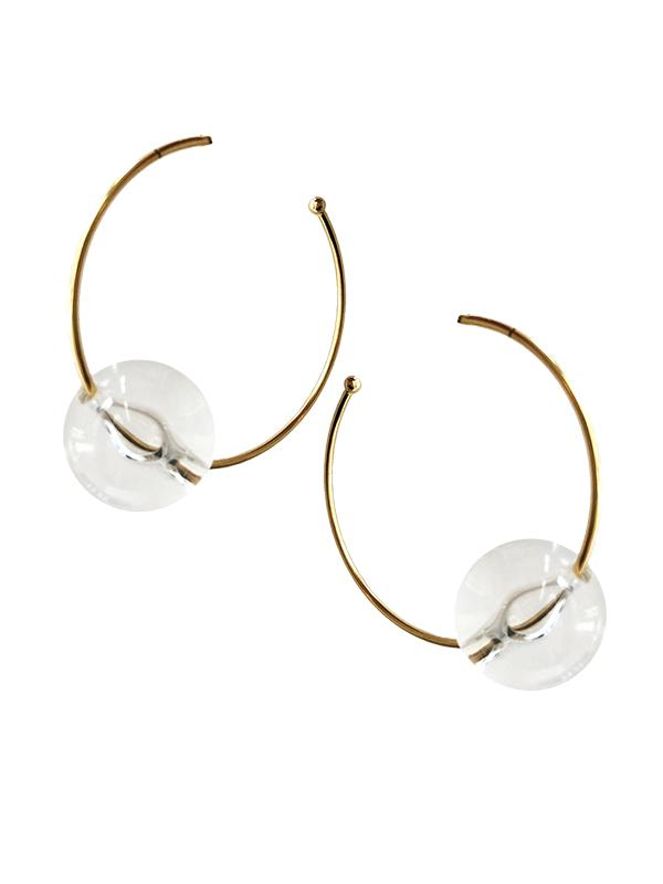 SALE Lucite Ball Hoop Earrings