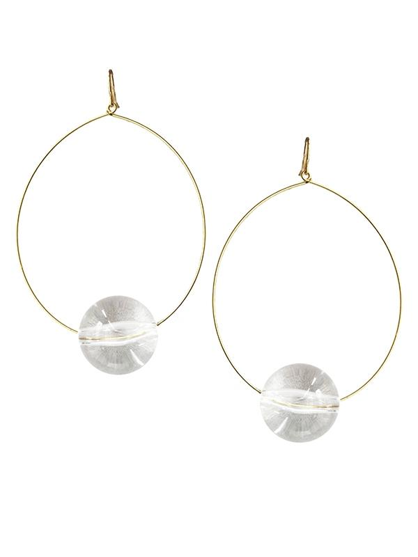 Lucite Ball Hoop Earrings